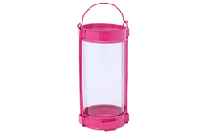 2 PC PK ROUND GLASS GALVANIZED LANTERN