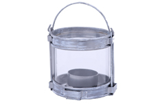 2 PC PK GALVANIZED ROUND GLASS LANTERN