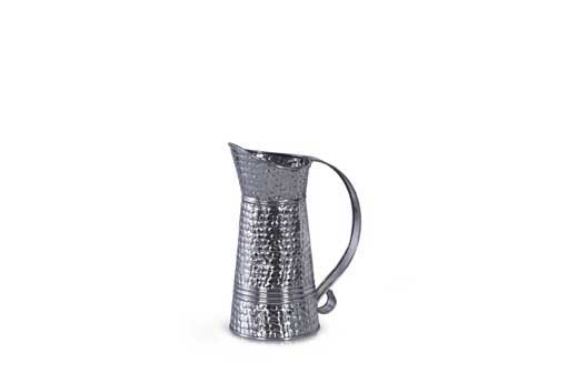 2 PC PK GALVANZIED HAMMERED PITCHER VASE