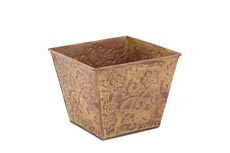 4 PC PK GALVANIZED EMBOSSED SQUARE PLANTER