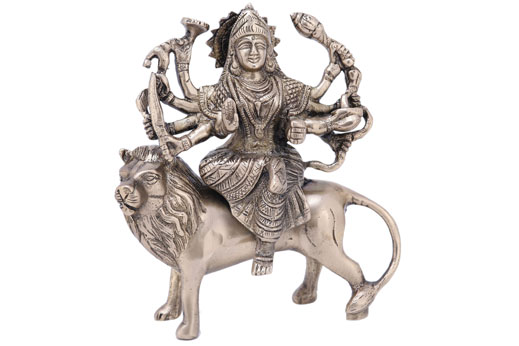 Solid Brass Durga Maa on Lion