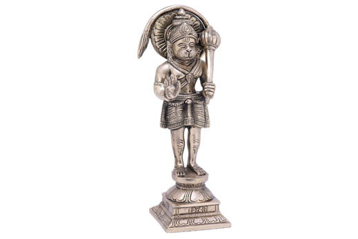 Solid Brass Hanumanji Standing on Square Base