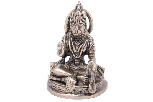 Solid Brass Hanumanji Sitting in Velvet Gift Box